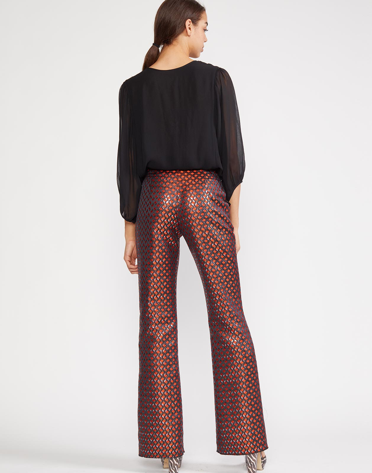 Back view of Geometric jacquard flare pant