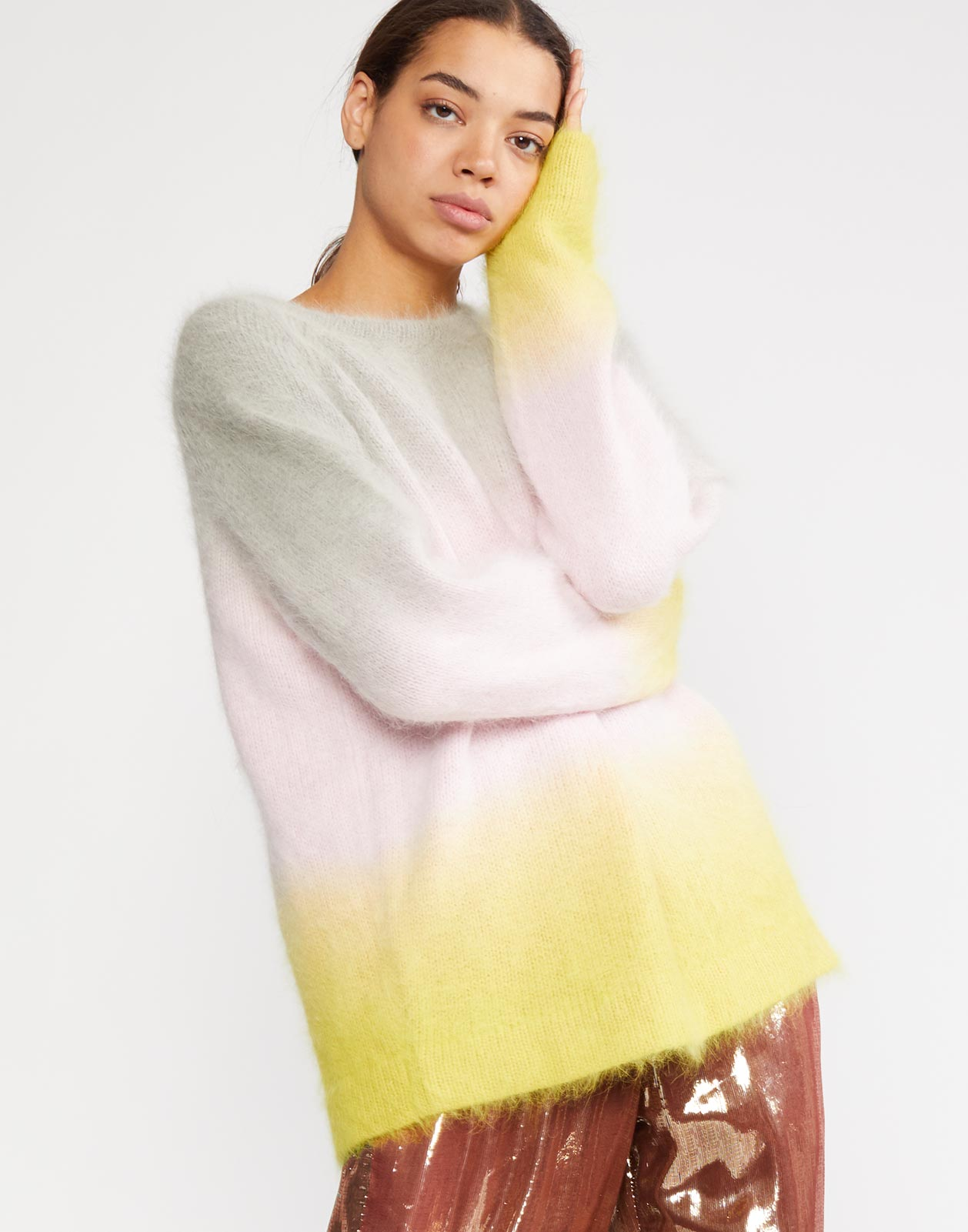 Side view of the Taylor Ombre Angora Sweater