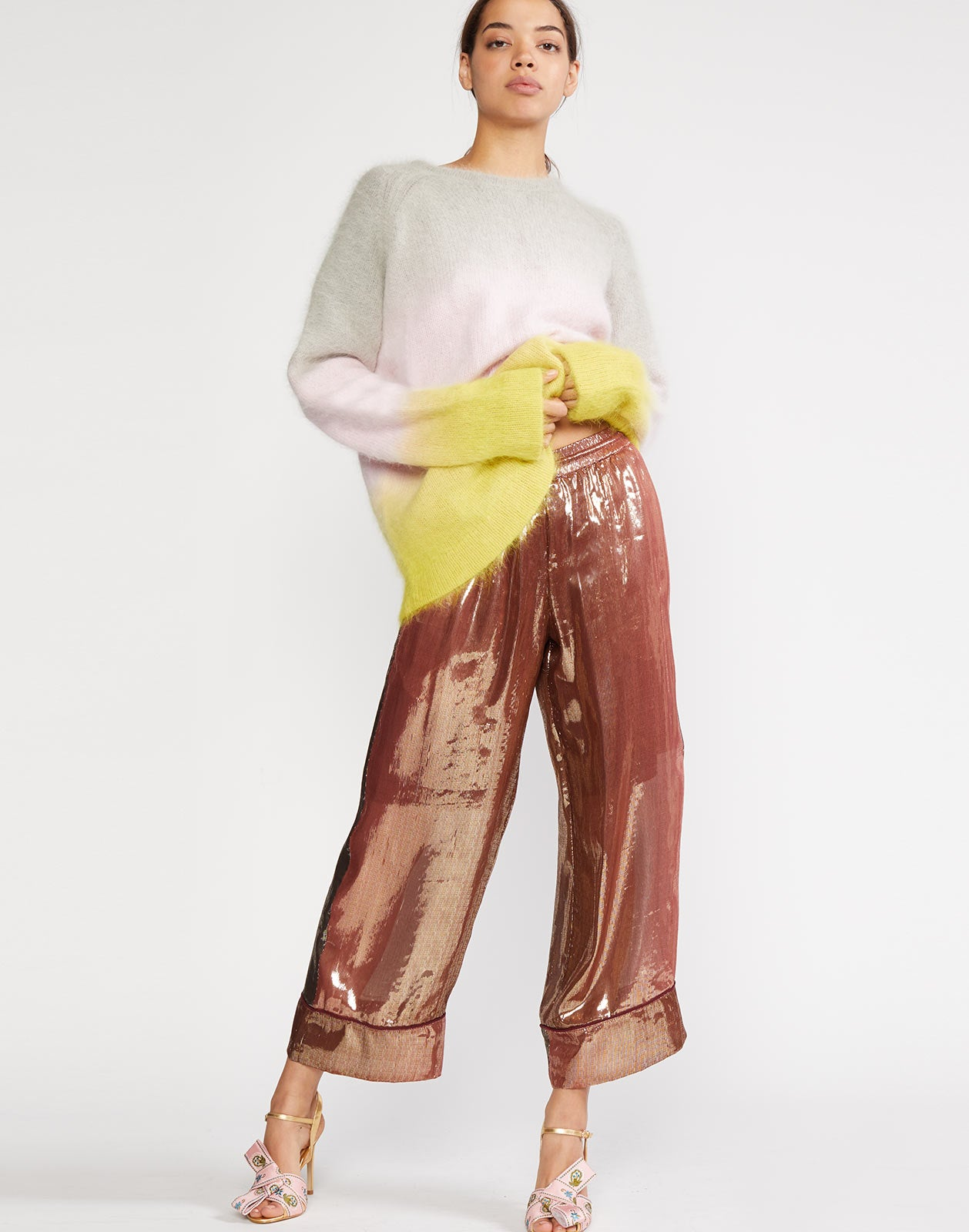 Full view of Finley Silk Lamé  Pant with elastic waist band and drawstring.