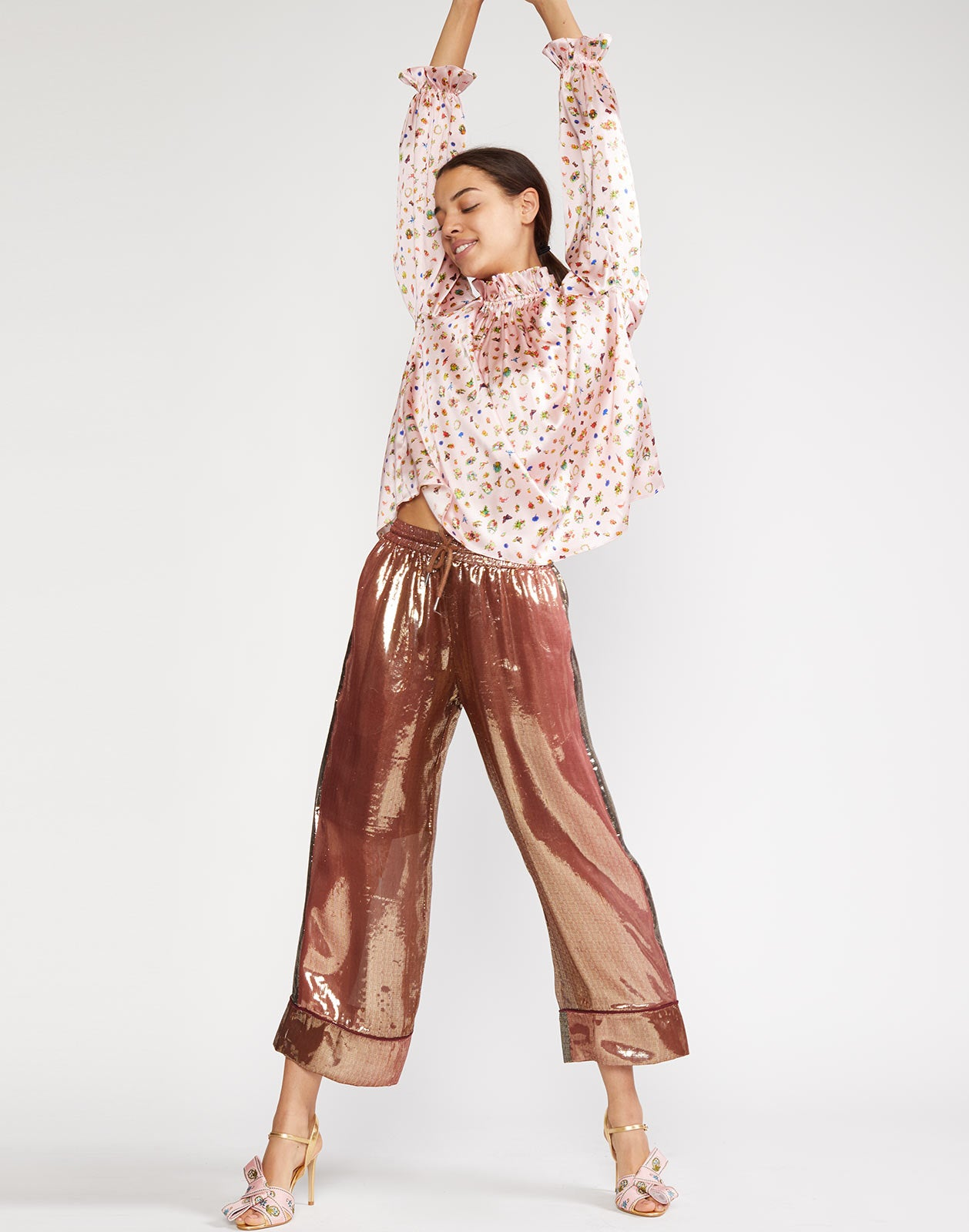 Bronze metallic lamé wide leg pant