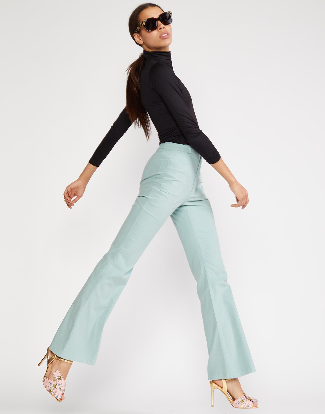Side view of Blake cotton pant with flare silhouette
