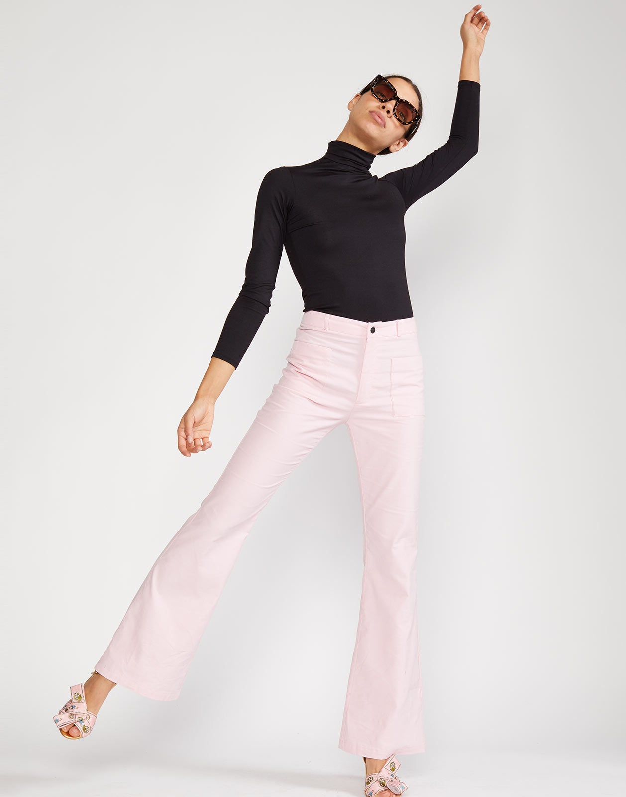 Full view of high waisted flare pant