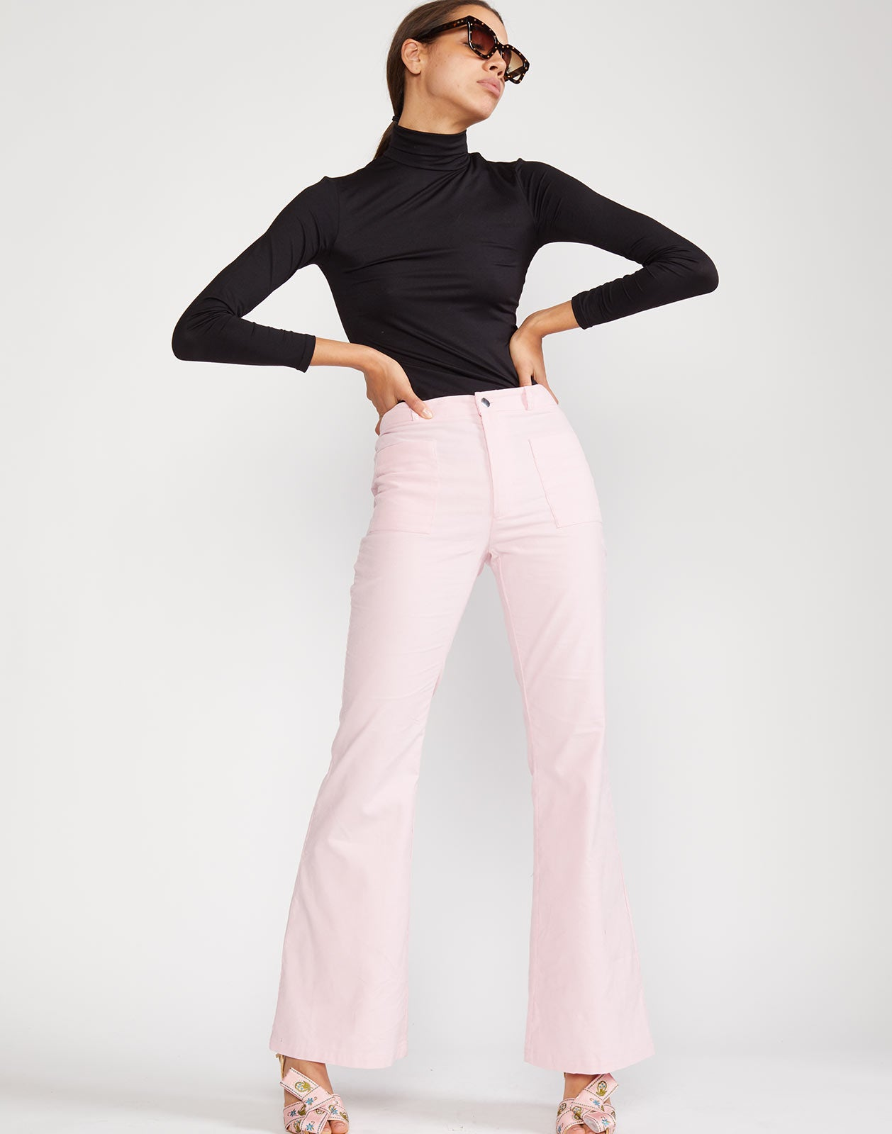 Alternate view of Blake cotton pant with flare silhouette