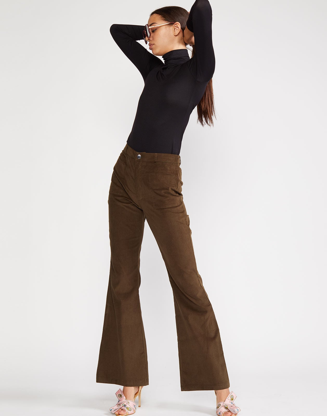 High rise baby corduroy flare pant
