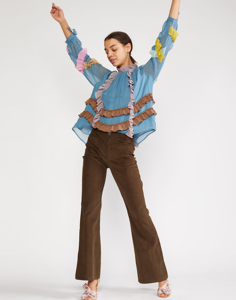 Alternate view of corduroy pant with flare silhouette