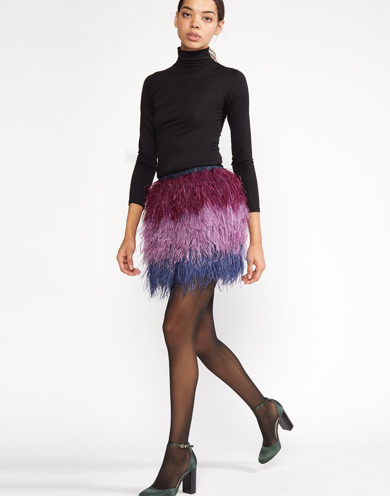 Full view of Vera Ostrich Feather Mini Skirt