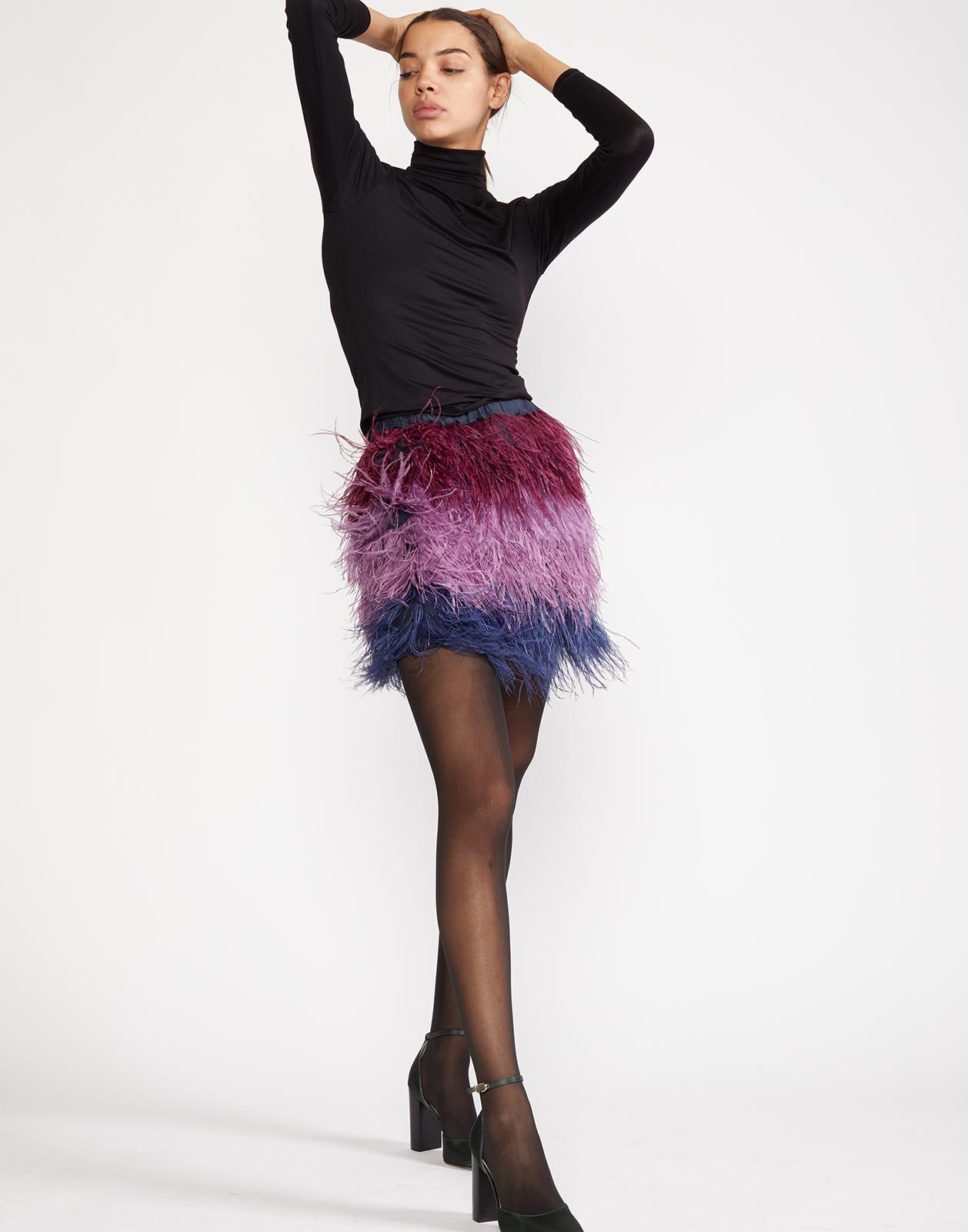Alternate view of feather skirt with covered elastic waist band