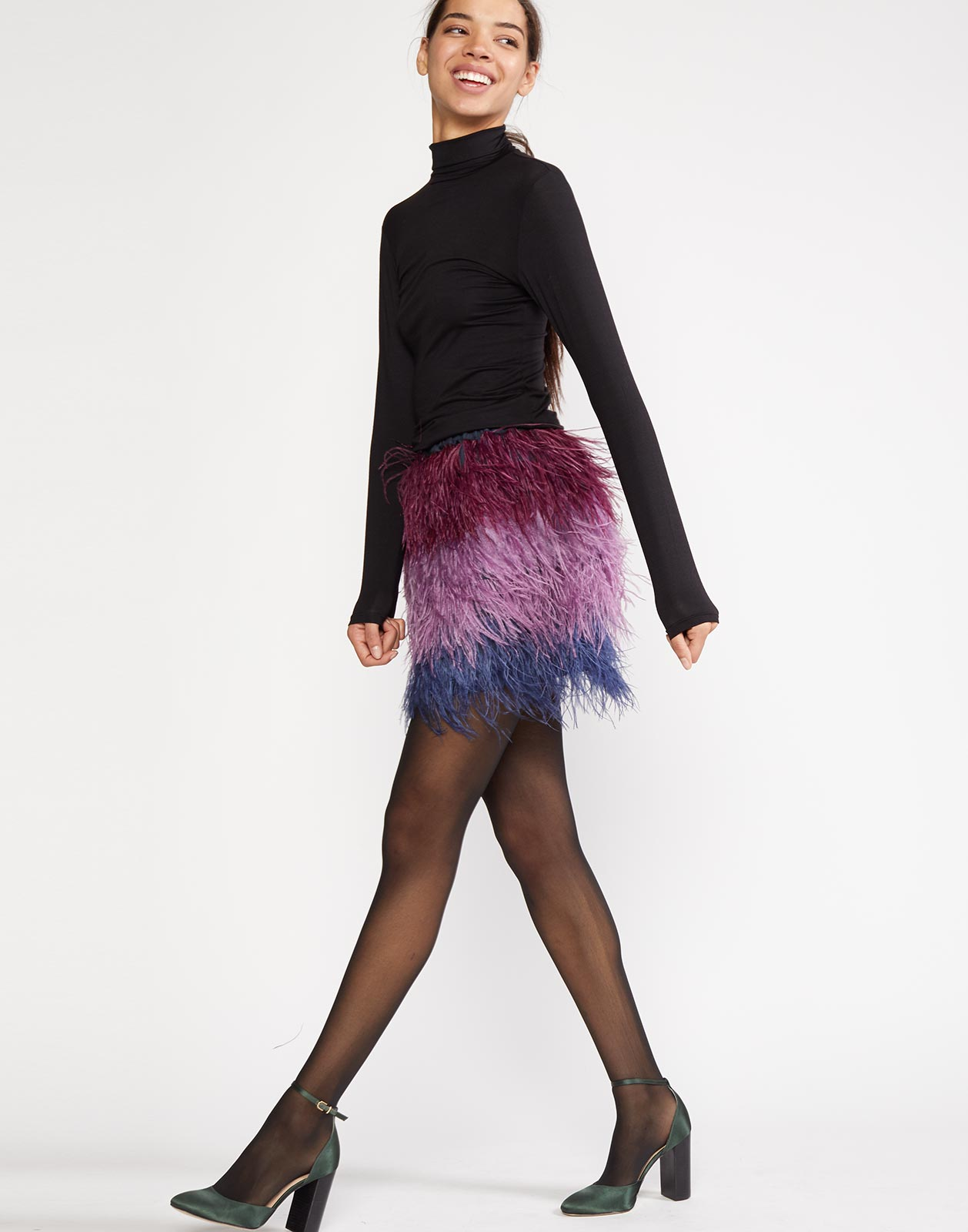 Side view of ombre feather mini skirt