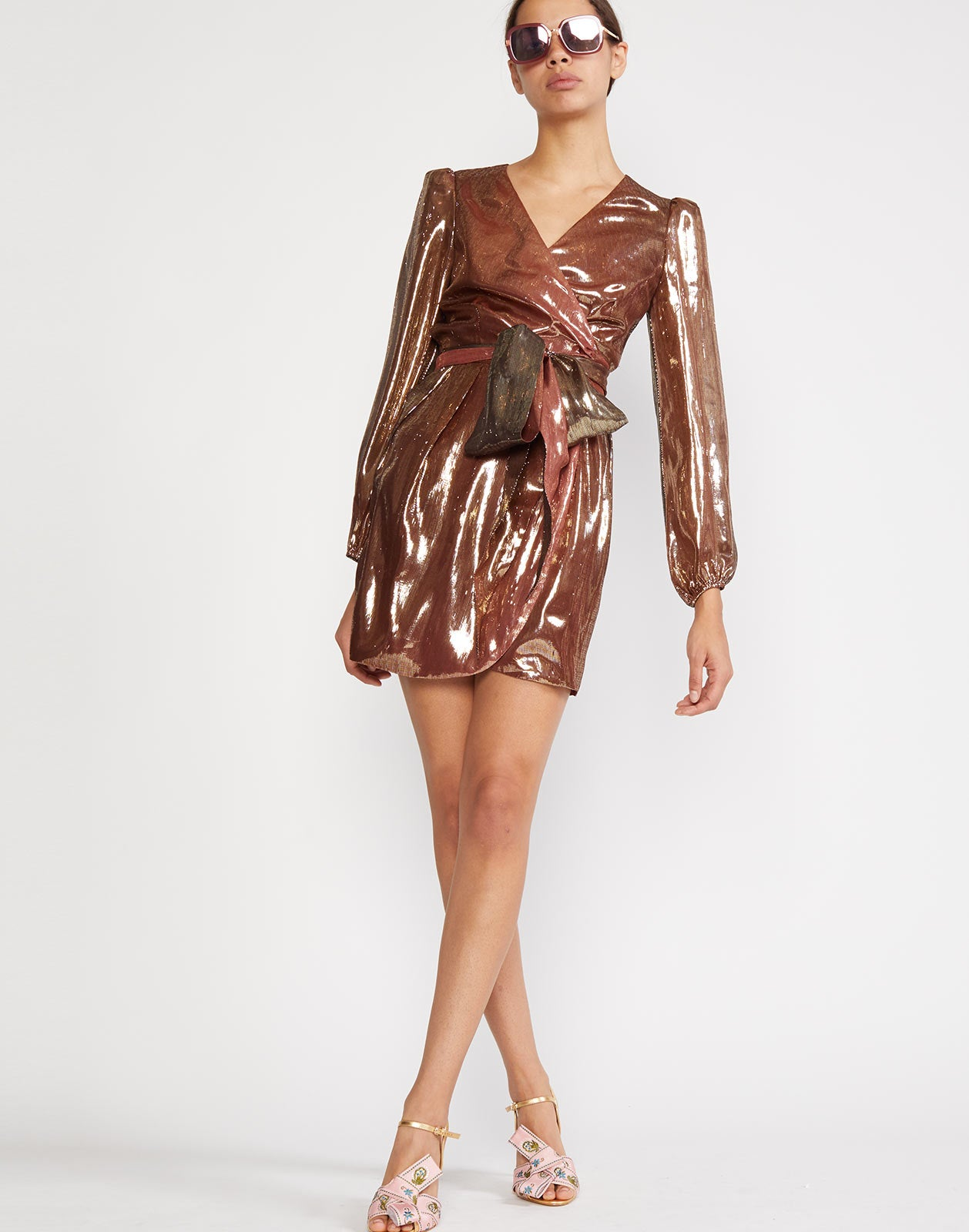 Rocky Silk Lame Wrap Dress