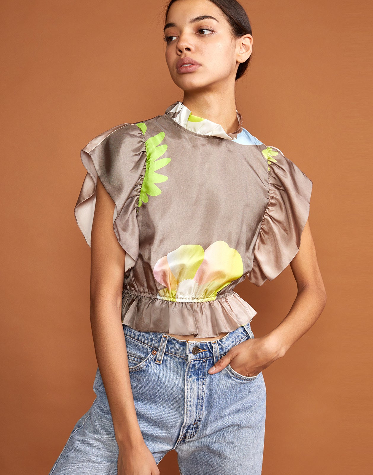 Ashley Pop Floral Silk Tee