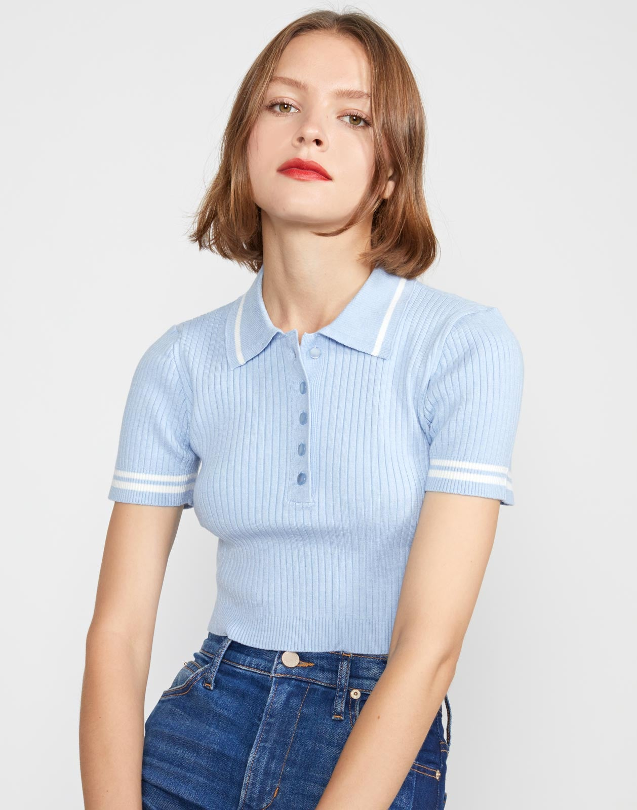 Aqua Rib Knit Cropped Top