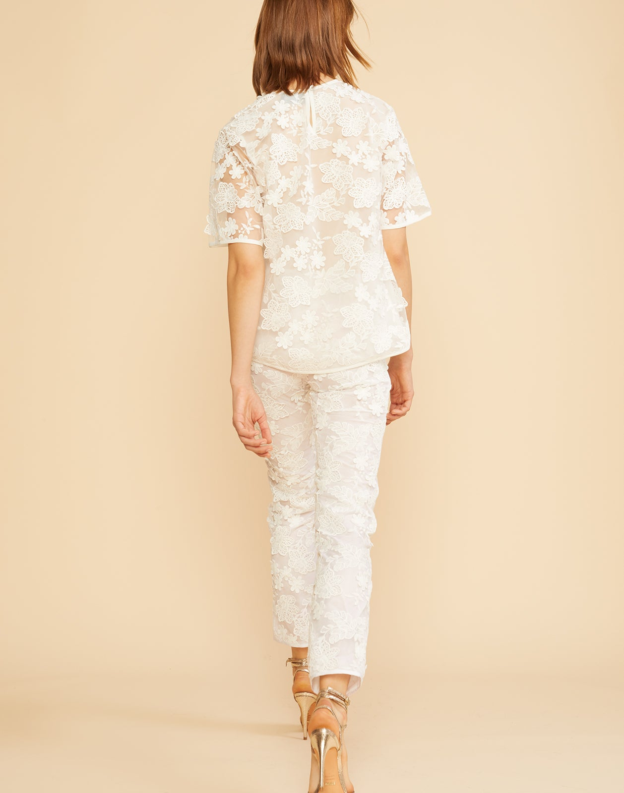 Back view of the floral lace pants with underlining.