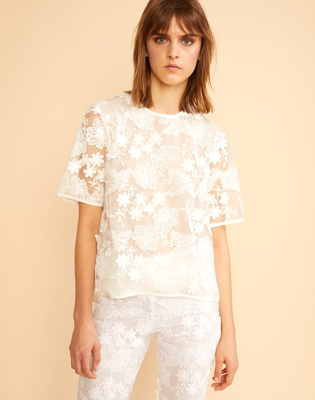 Front view of sheer floral lace tee.
