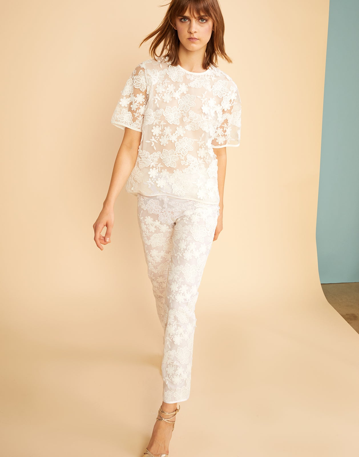 Front view of the floral lace pants with underlining.