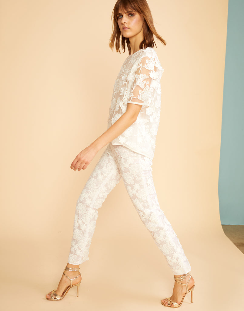Side view of the floral lace pants with underlining.