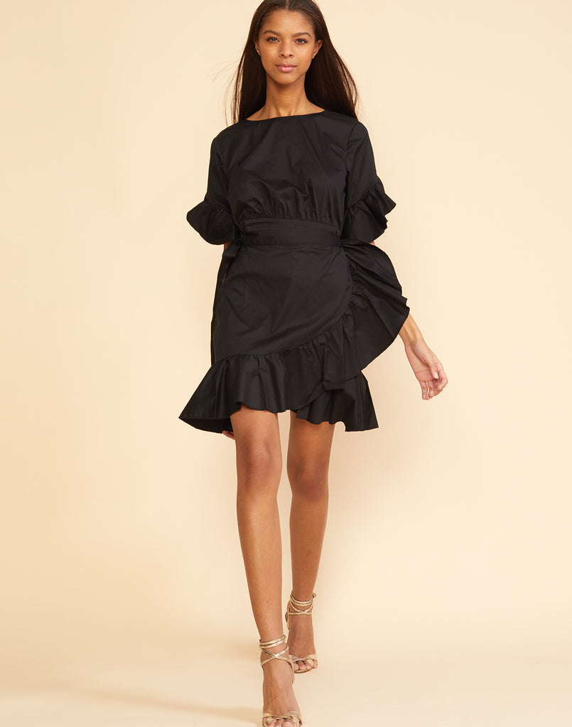 Full front view of the polished cotton ruffle wrap dress