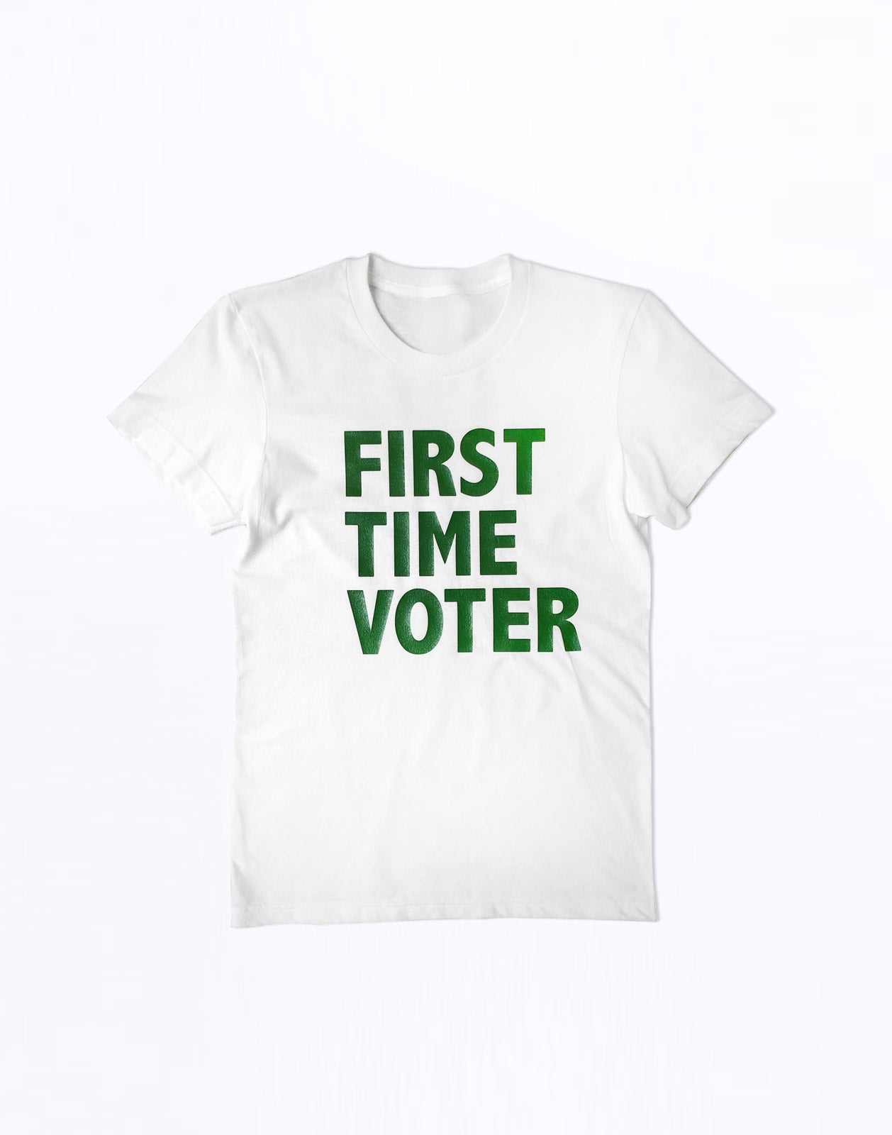 First Time Voter t-shirt with green lettering.