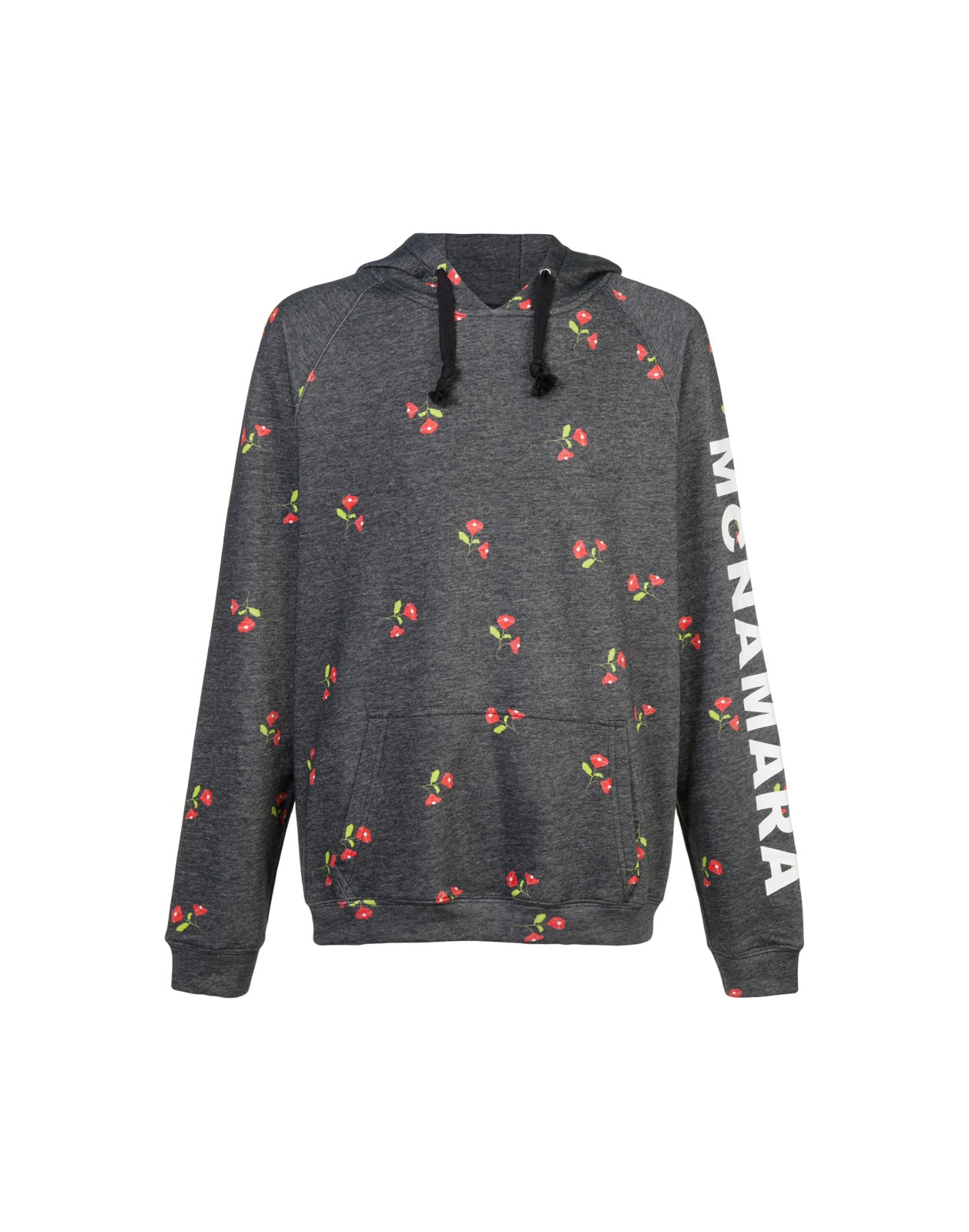 Grey hoodie sweatshirt with red an green flowers.