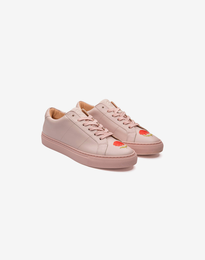 Product image of CR x Greats collaboration soft leather lace up sneaker with flower embroidery.