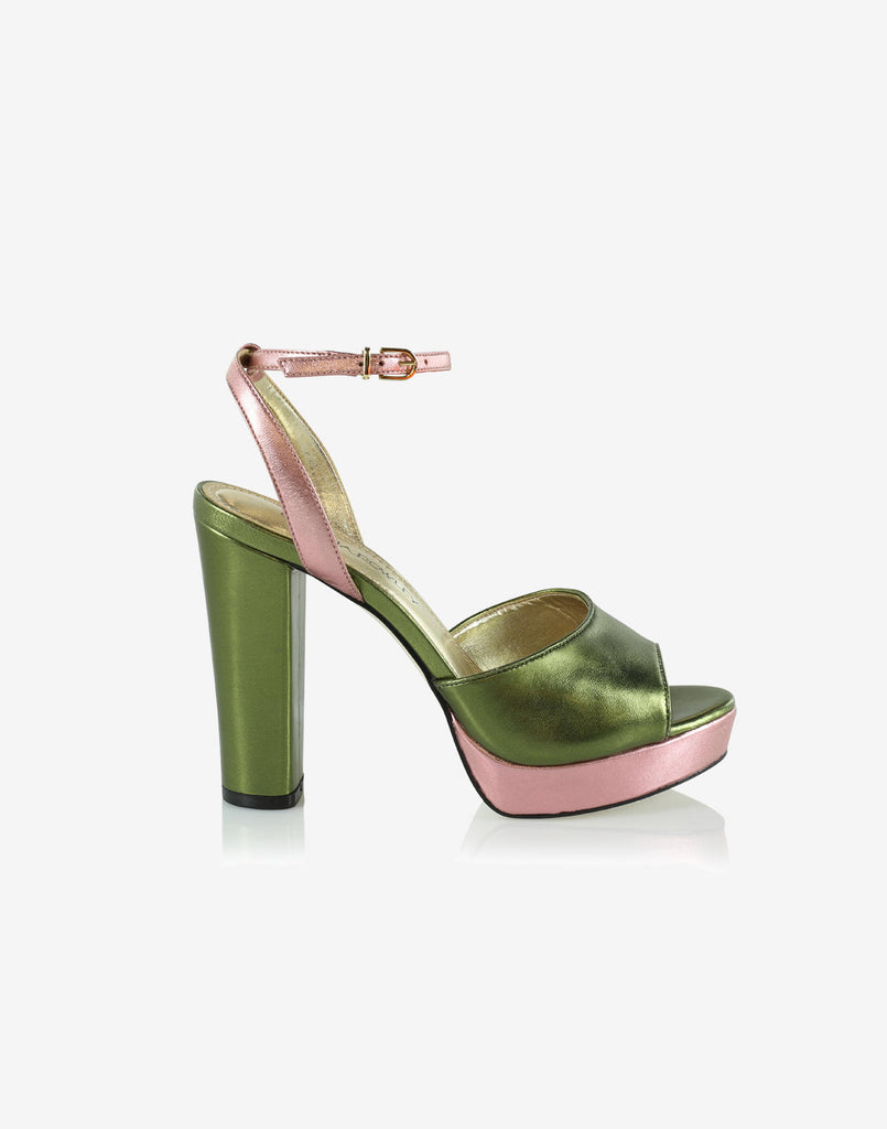 Green and lavender metallic platform heel with ankle strap