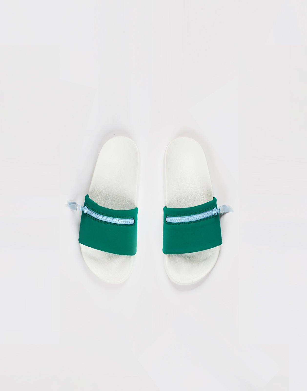 Green neoprene pool slides with zip.