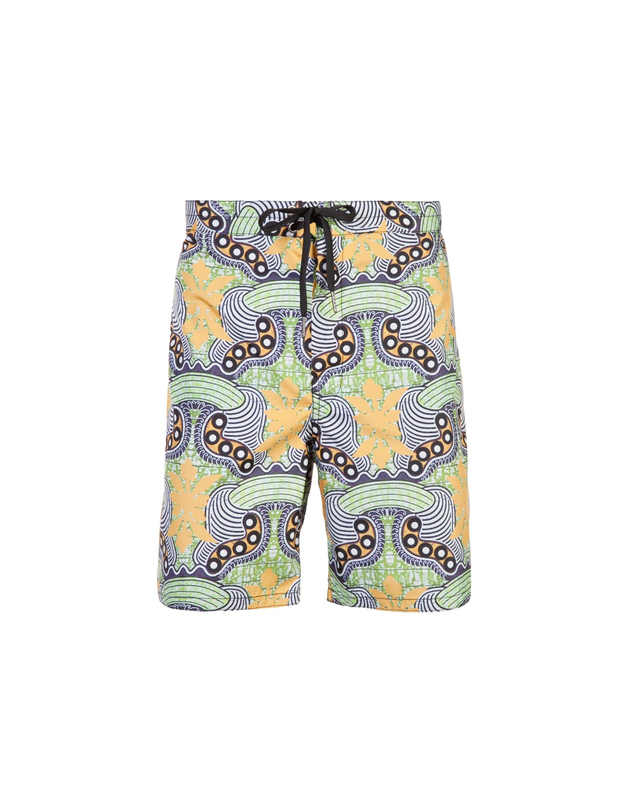 Product image of board shorts in abstract graphic print.