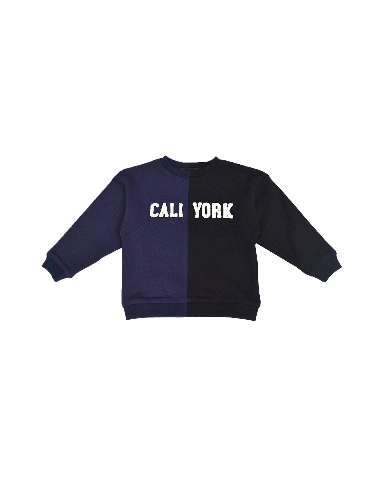 Product image of Kid's CaliYork sweatshirt in half navy, half black.