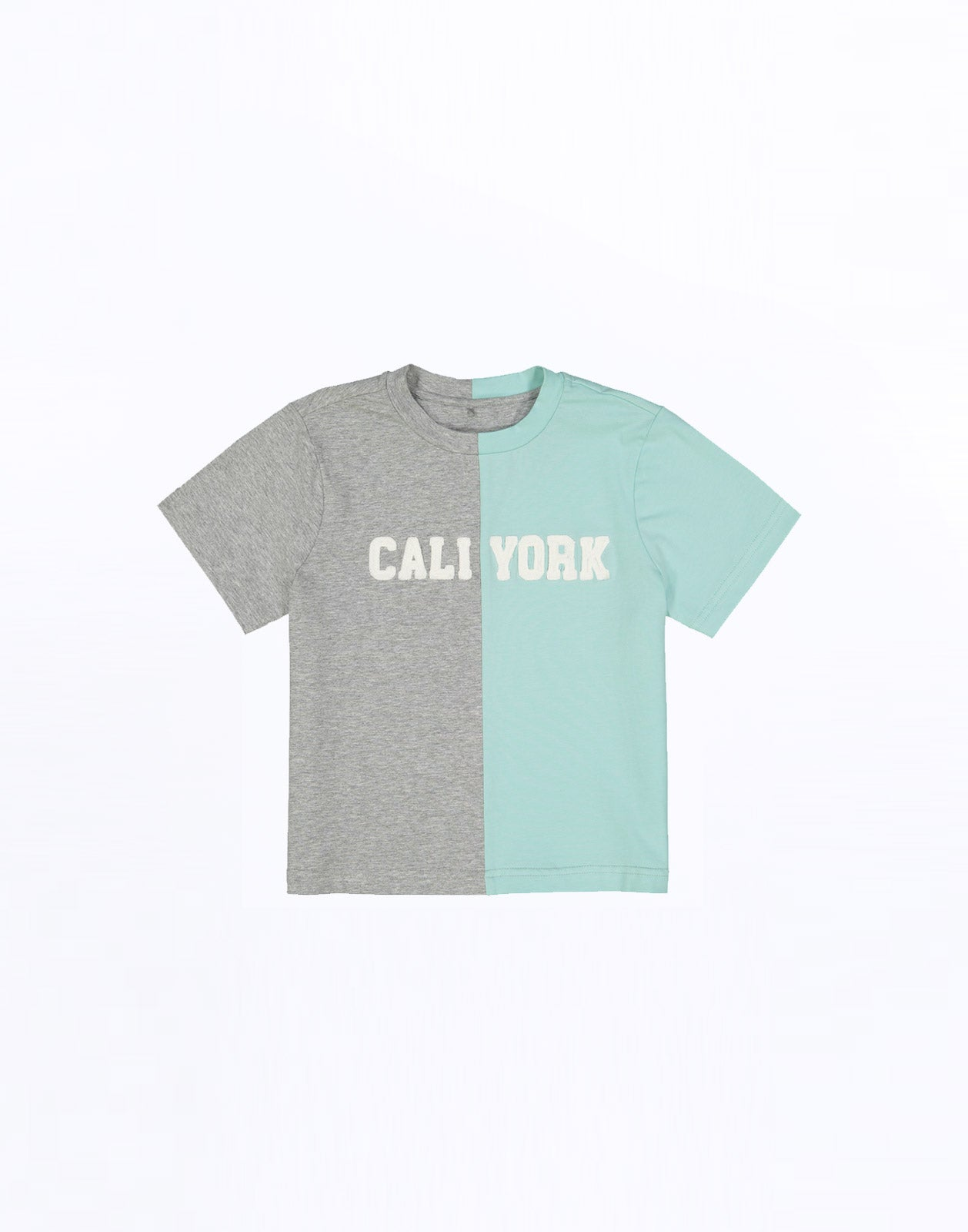 Kid's CaliYork in tee in half grey, half mint.
