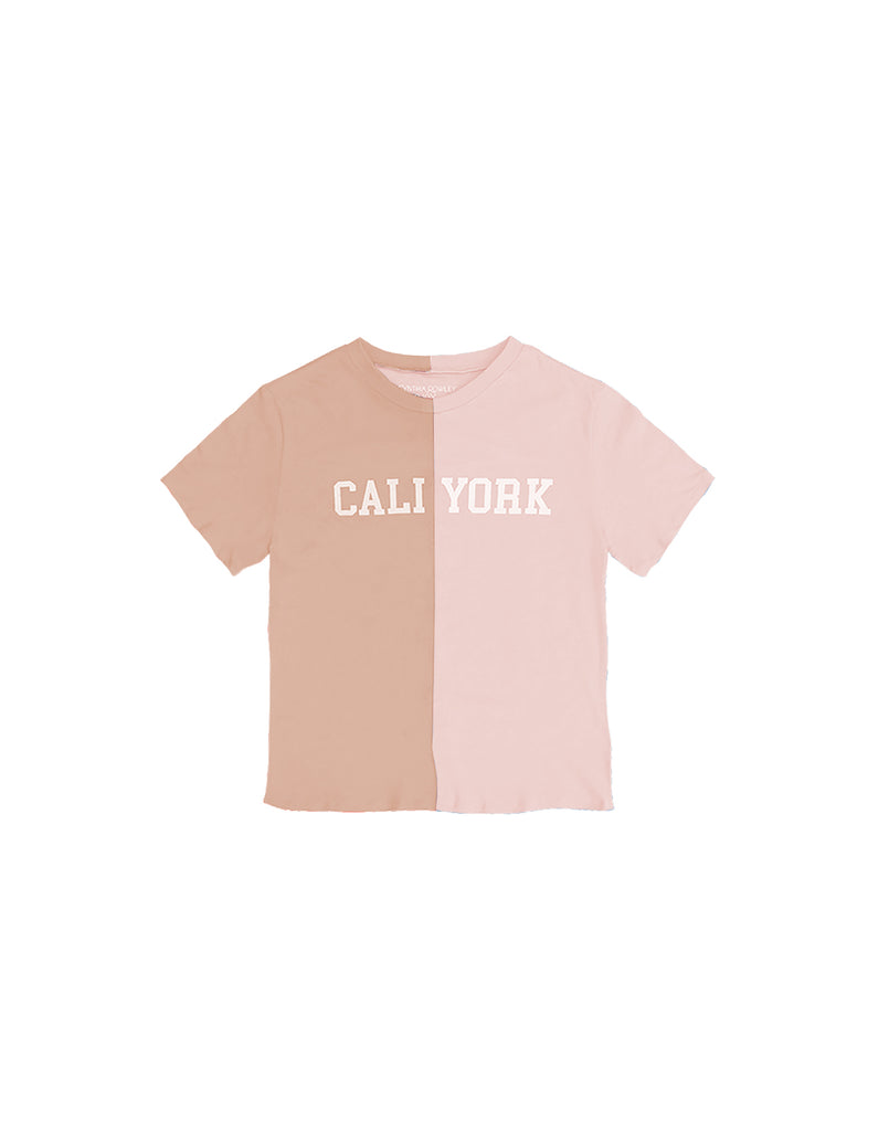 Product image of Kid's CaliYork Tee in half pink, half beige.