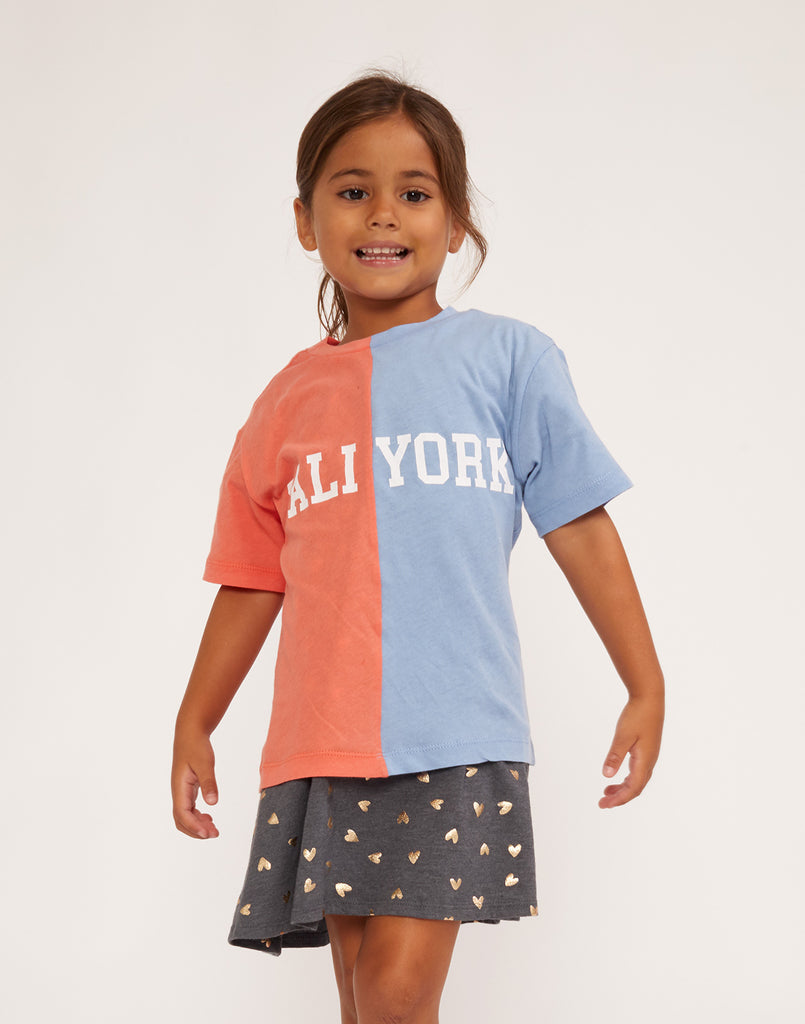 Kid's CaliYork Tee in half orange half blue.