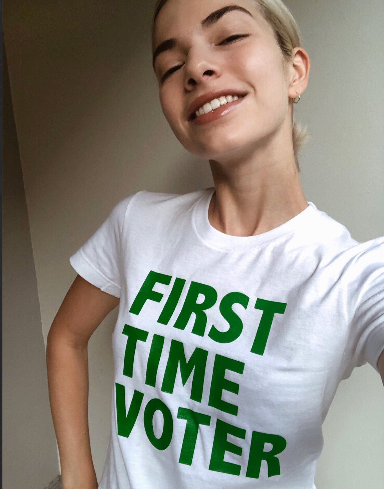 Selfie shot featuring the First Time Voter tee.