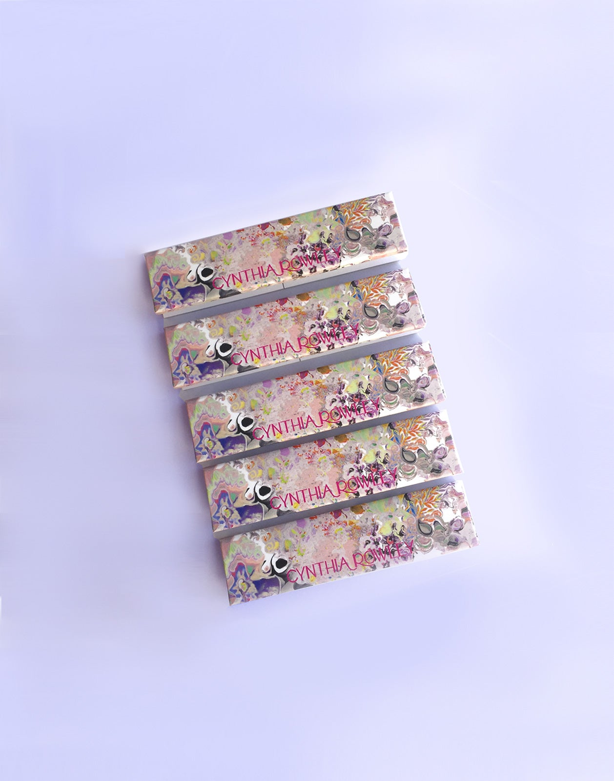 Set of 5 light floral print rolling paper booklets