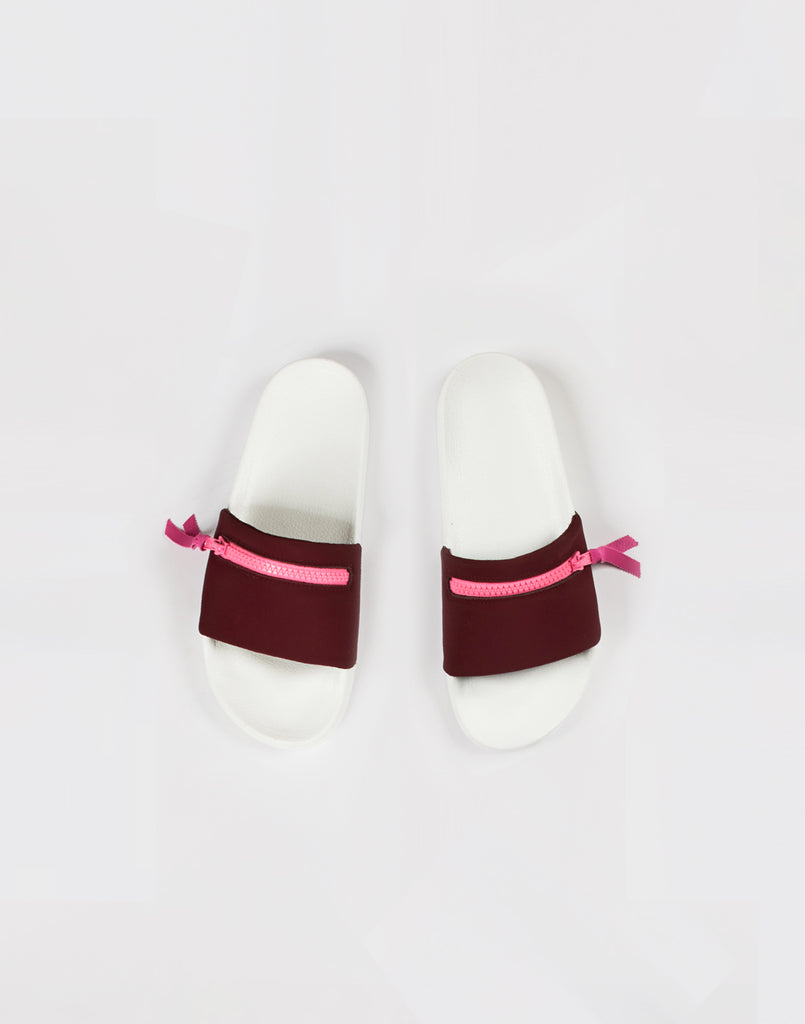 Maroon neoprene pool slides with zip.