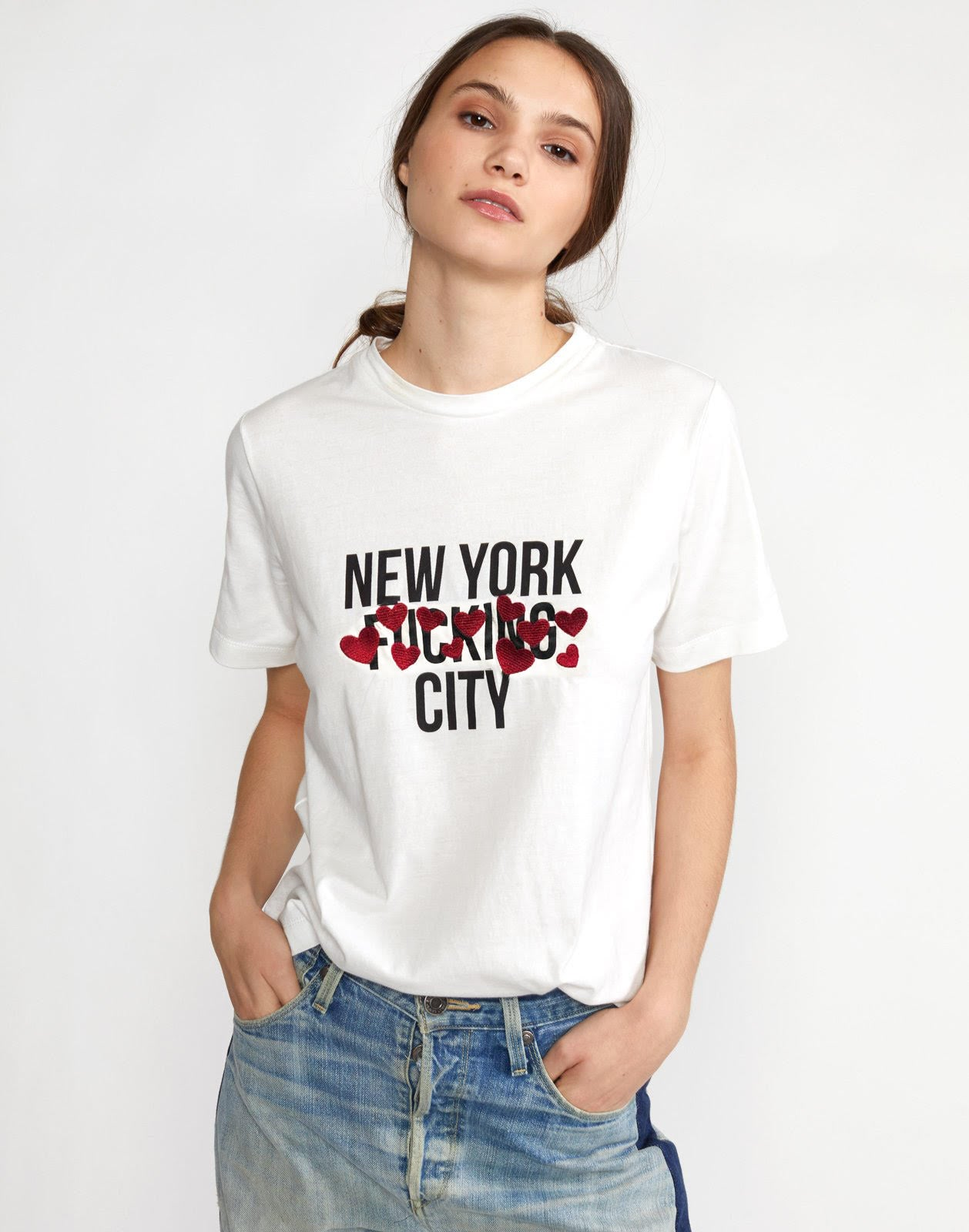 Embroidered New York City Hearts Tee