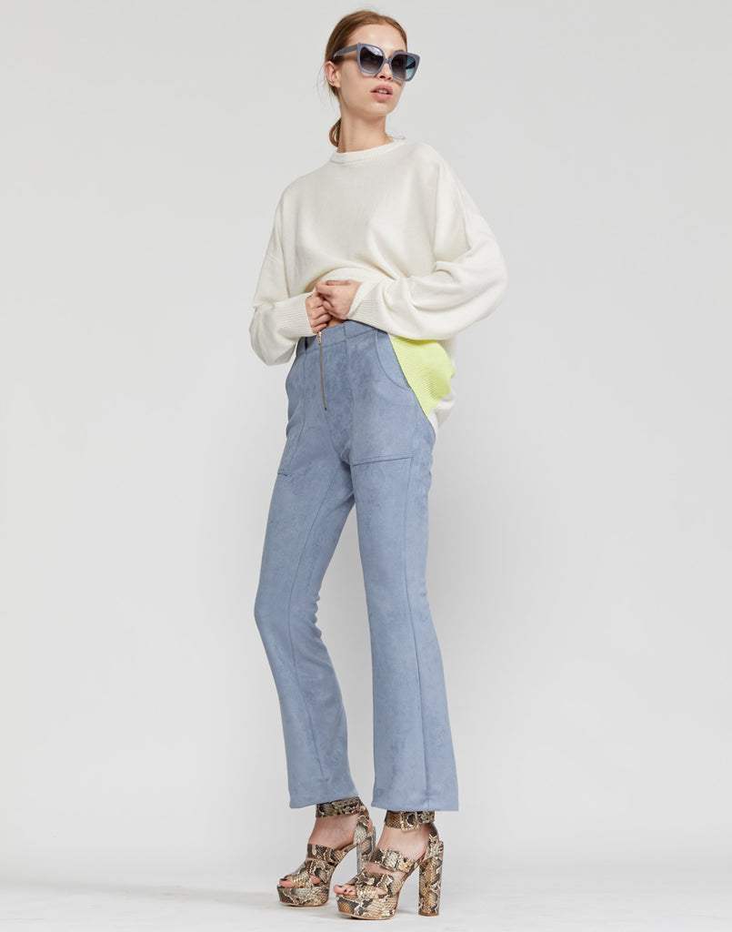 Nadia Stretch Faux-suede Flared Pant