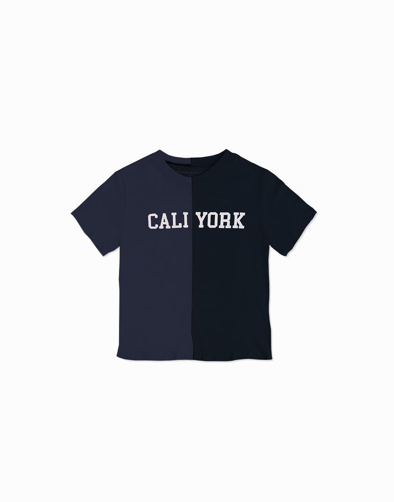 Product image of the kid's CaliYork t-shirt in half navy, half black.