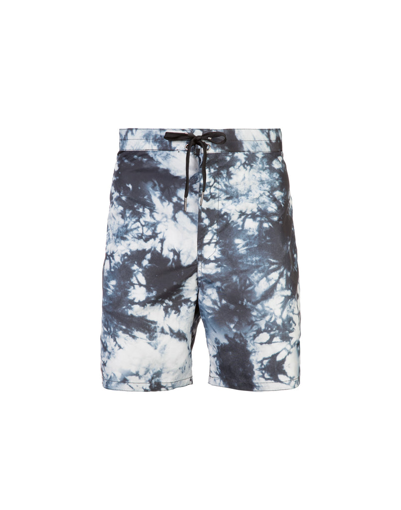 Black, grey, and white, acid wash board shorts with drawstring waist.
