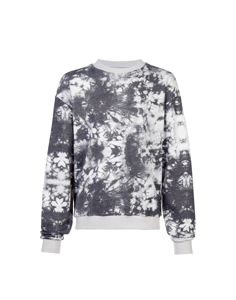 Product image of soft cotton crewneck sweatshirt in acid wash print.