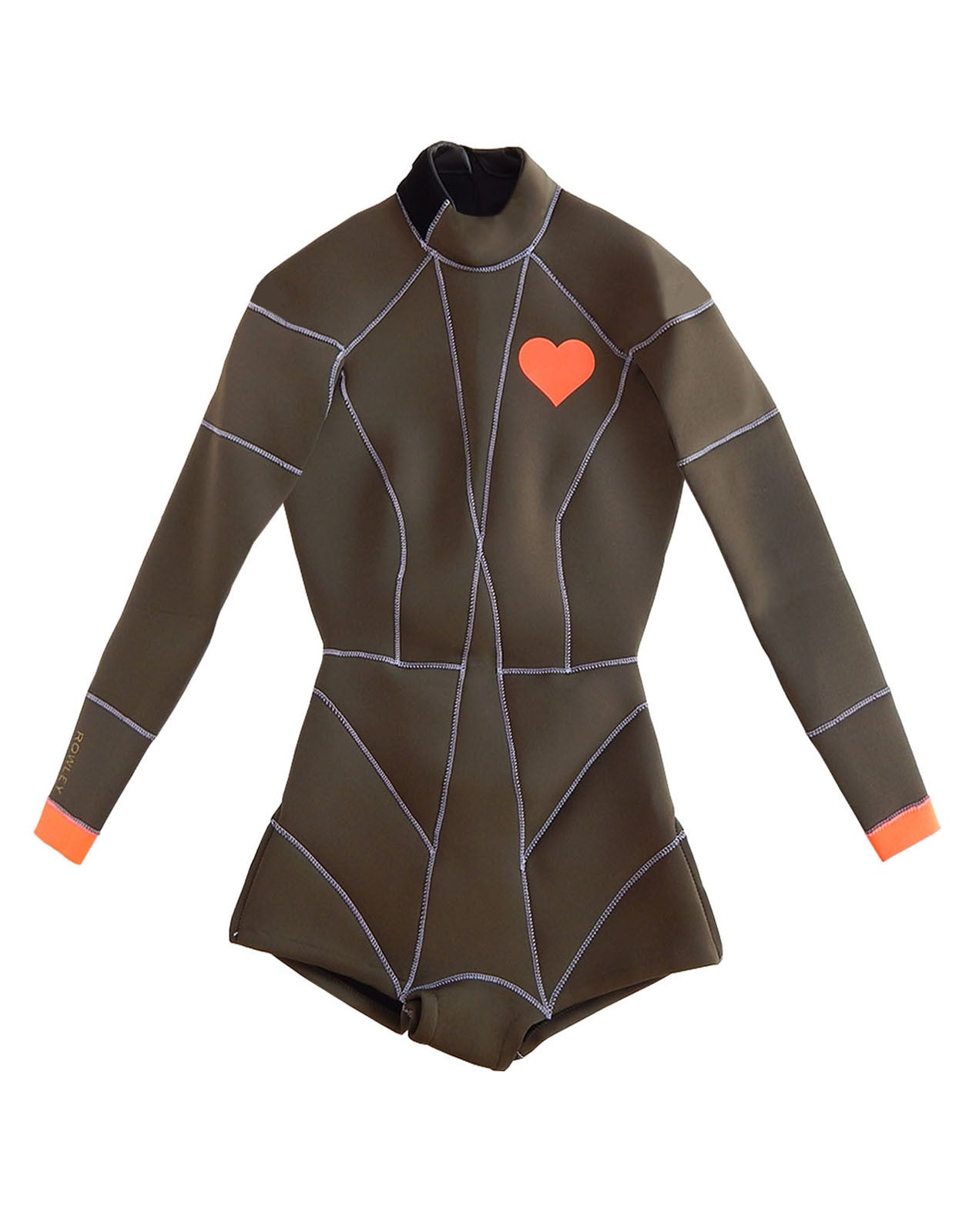 Flat image of the 2MM Fiber-Lite neoprene wetsuit with heart emblem detail on chest