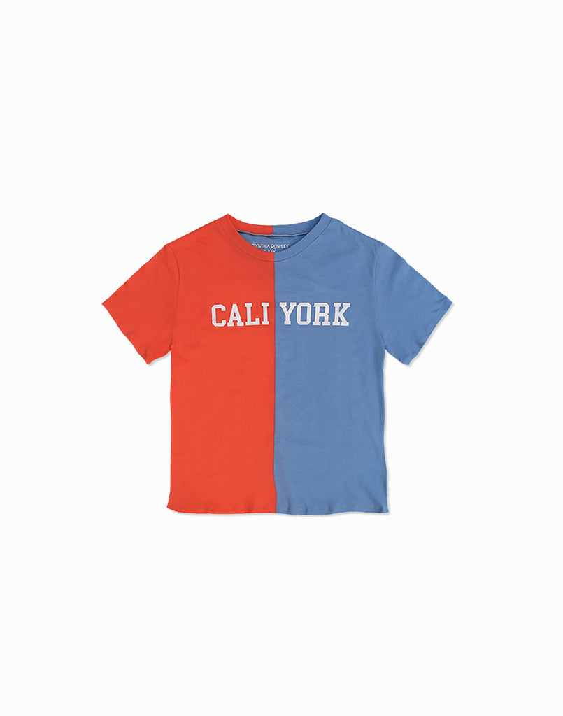 Kid's CaliYork T-shirt in half orange half blue.