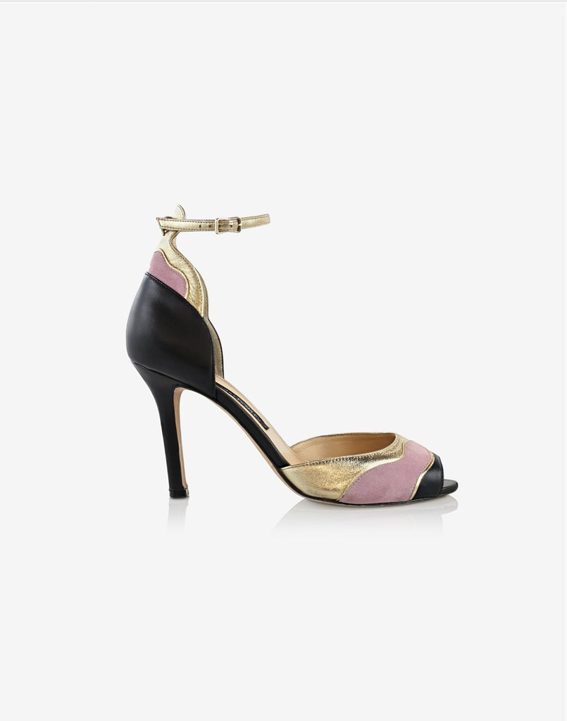 side view of the colorblock peep toe shoes