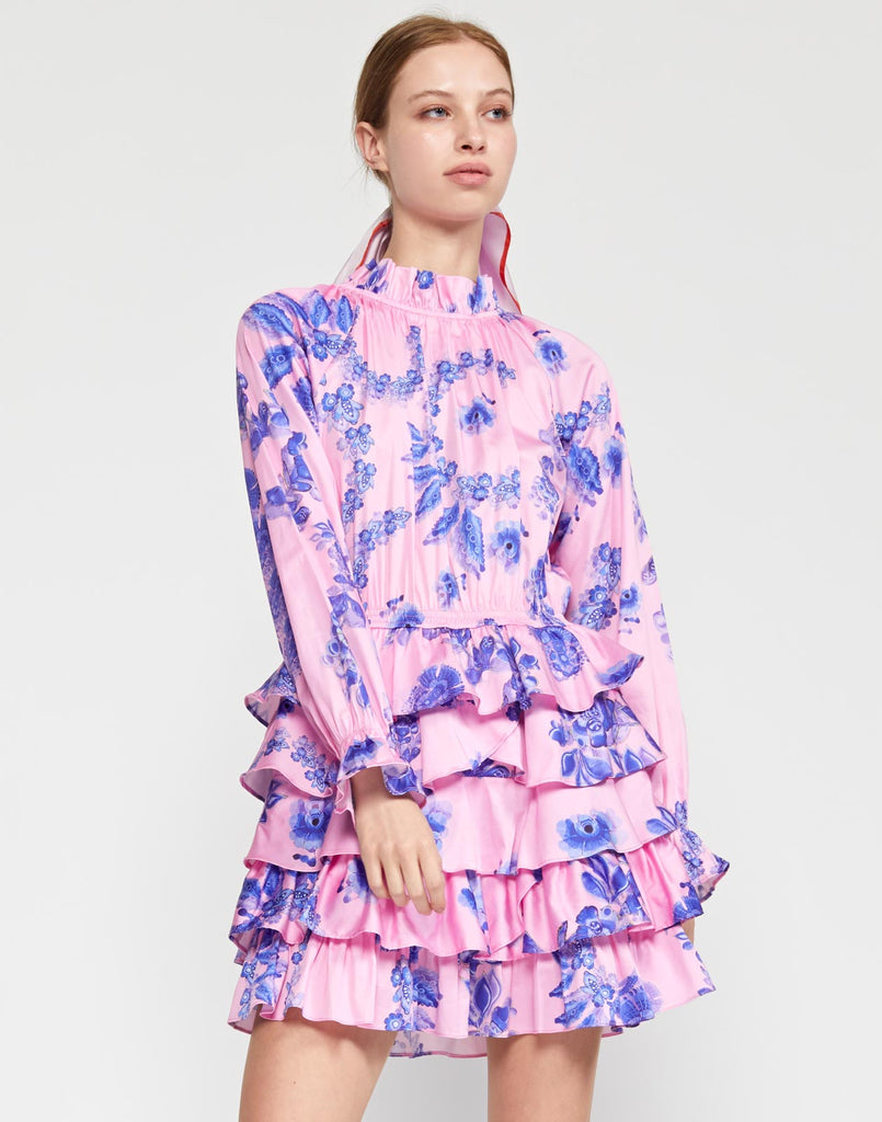 Samantha Printed Ruffle Cotton Dress