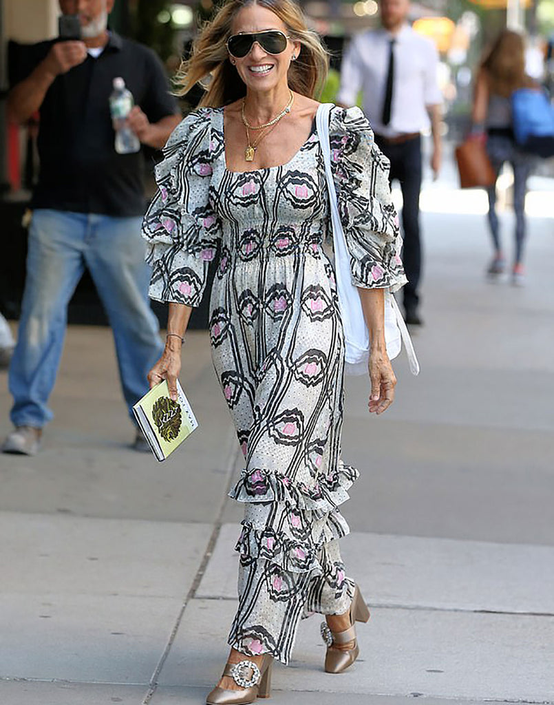 Sarah Jessica Parker wearing Jessica Smocked Ruffle Dress.
