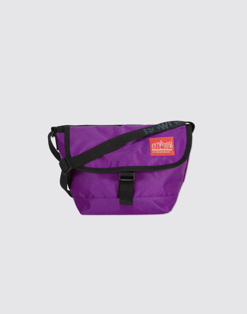 Front detail shot of Ultra Violet Mini Manhattan Portage Messenger Bag with front buckle and arm strap.