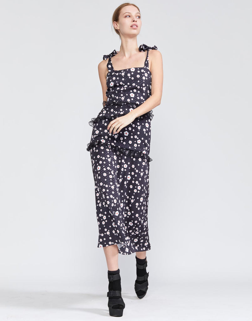 Snow Daisy Tie Shoulder Fitted Dress