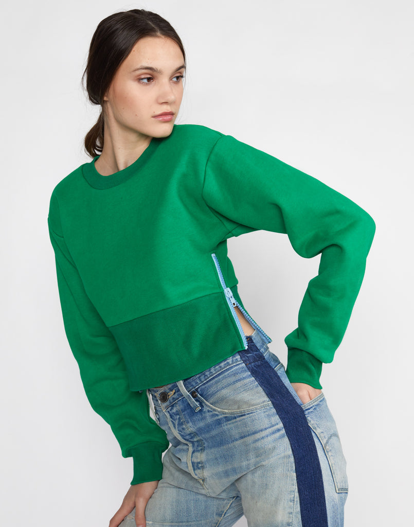 Del Cropped Side Zip Sweatshirt