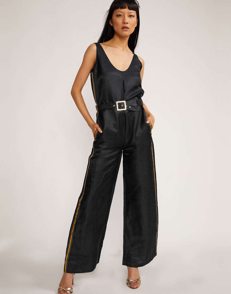Front view of the belted silk linen Dylan jumpsuit in black.