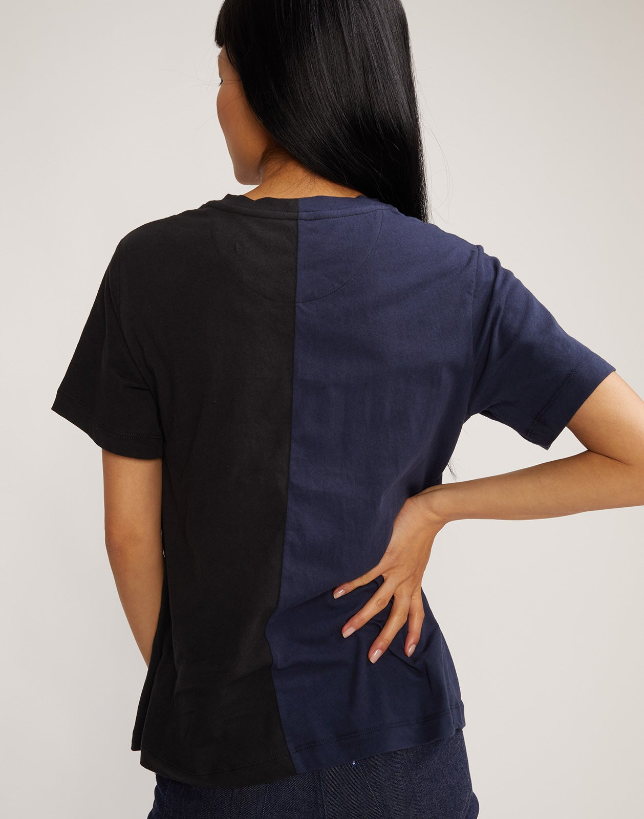 Back view of half black half navy 'Role Model' tee