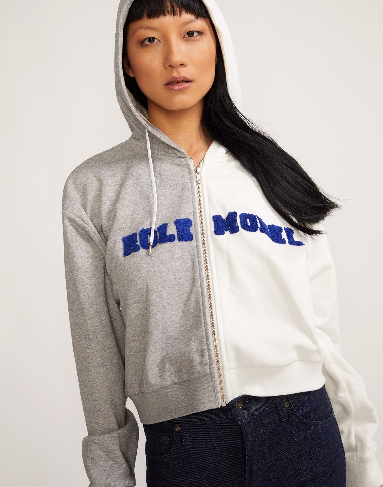Close view of the Embroidered Role Model Cropped Hoodie Sweatshirt