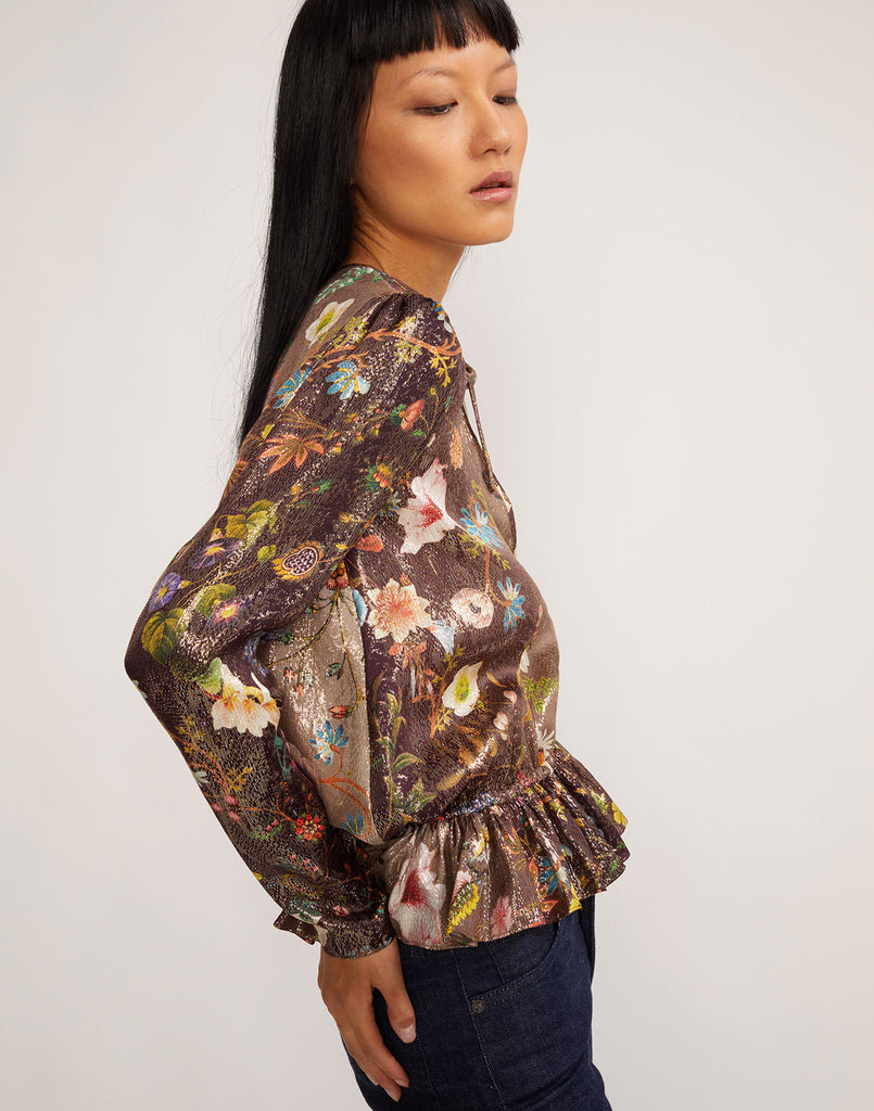 Side view of Blair top in metallic ombre floral print.
